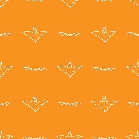 Bat and teeth seamless Halloween outline in the abstract style. Black bat and teeth seamless Halloween outline on orange background. Holiday decoration. Line vector. Doodle wallpaper. Wildlife set. Ilustrace