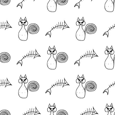 Seamless cat and fishbone Halloween outline, great design for any purposes. Line art design template with black seamless cat and fishbone Halloween outline on white background.