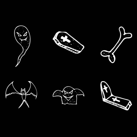 Halloween doodle set isolated on white background. Cartoon set with black Halloween doodle elements. Outline symbol collection. Hand drawn sketch magician collection.