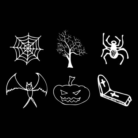 Halloween doodle set isolated on black background. Cartoon set with black Halloween doodle elements. Outline symbol collection. Hand drawn sketch magician collection.