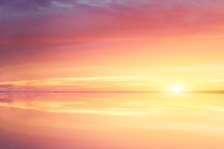 Fantasy sunset lake sunshine sunrise, great design for any purposes. Beautiful autumn nature. Summer sunset. Vacation, summer. Autumn morning sunrise. Evening skyline. Abstract background.