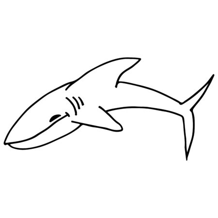 Abstract shark outline. Shark icon, great design for any purposes. Outline illustration. Hand drawn doodle illustration. Hand drawing. Silhouette symbol. Ilustrace