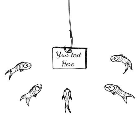 Hook board fishing, great design for any purposes. Illustration for concept design. Sketch illustration. Fishing rod cartoon isolated. Outline fish. Hand drawing.
