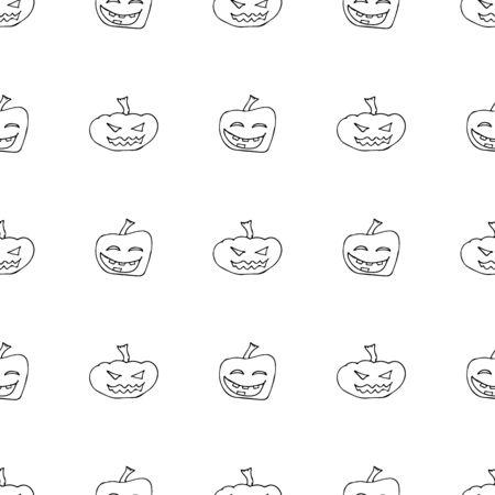 Sketch Halloween pumpkin seamless outline. Halloween pumpkin seamless outline in a hand-drawn style. October harvest background. Vector freehand set. Vector illustration.