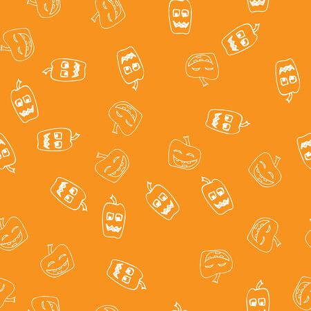 Sketch Halloween pumpkin seamless outline. Halloween pumpkin seamless outline in a hand-drawn style. October harvest background.