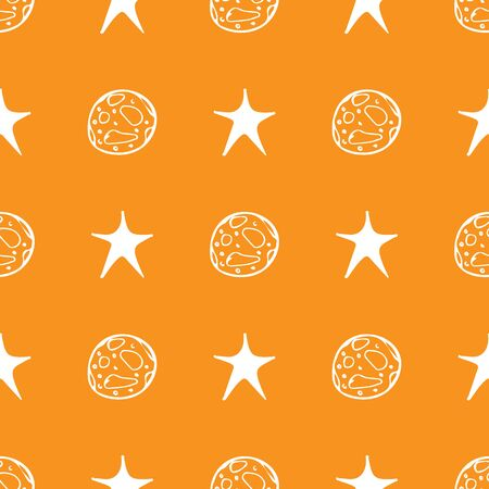 Black moon star seamless Halloween on orange background. Night stars pattern background. Baby illustration. Space travel. Astronomy galaxy illustration.