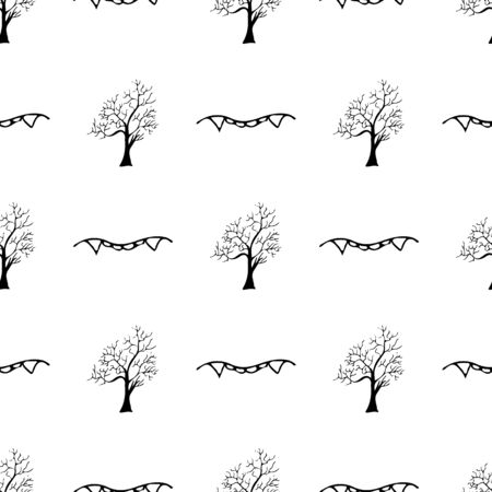 Sketch halloween trees and vampire teeth seamless outline. Halloween trees and vampire teeth seamless outline in a hand-drawn style. October harvest background Illustration