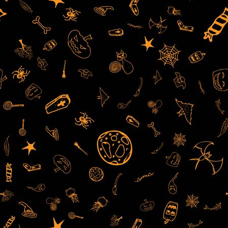 Halloween doodle seamless pattern set isolated on black background. Outline set of seamless pattern with black Halloween doodle elements. Outline collection. Hand drawn sketch magician collection.
