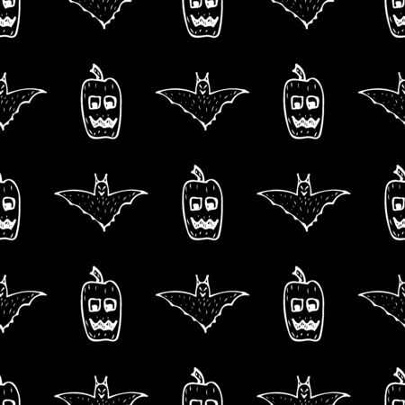 Bat and pumpkin seamless Halloween outline in the abstract style. Bats and pumpkins seamless pattern Halloween outline on black background. Holiday decoration. Doodle wallpaper.
