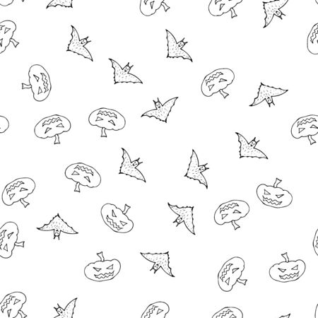 Bat and pumpkin seamless Halloween outline in the abstract style. Bats and pumpkins seamless pattern Halloween outline on white background. Holiday decoration. Doodle wallpaper.