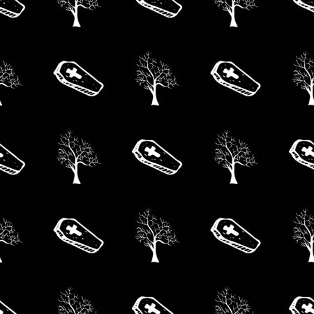 Halloween trees and coffins seamless outline pattern in a hand-drawn style. October harvest background.
