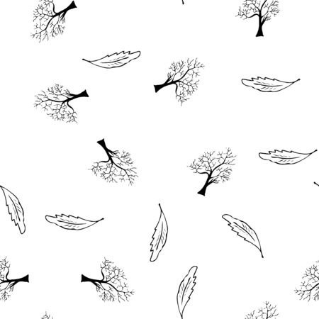 Hand drawn a seamless pattern of engraved oak leaves and trees isolated on white background. Vintage doodle seamless pattern of oak leaves and trees.