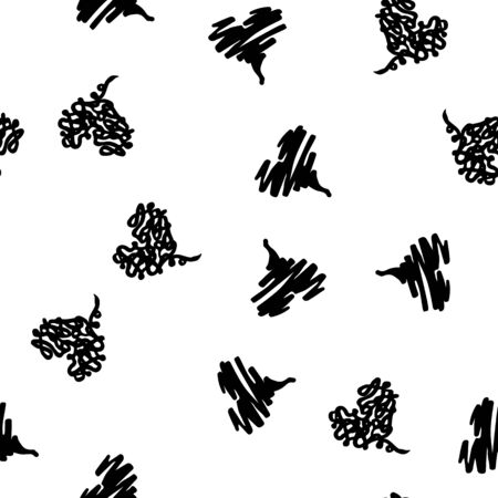 Seamless modern grunge heart hand drawn set, great design for any purposes. Hand drawn doodle grunge heart set. Doodle illustration.