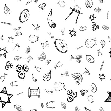 Purim seamless pattern set, great design for any purposes. Isolated seamless pattern on white background. Hanukkah doodle set. Fun holiday background. Hanukkah doughnut, Jewish holiday symbol. Illustration