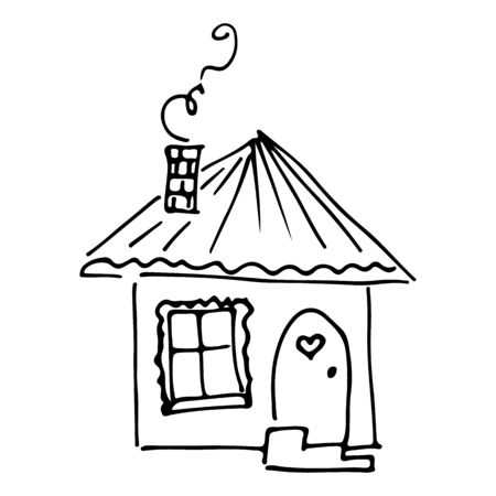 Doodle illustration with house sketch hand on white background. House sketch in hand-drawn style on white background.