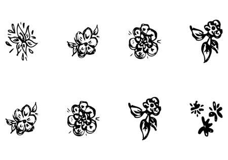 Rose outline set in line art style. Vintage background. Black background. Floral design element. Outline symbol collection.