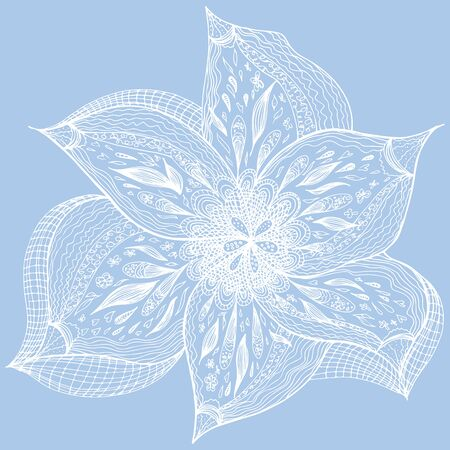 Engraved hand drawn abstract orchid. Retro flowers hand outline orchid, great design for any purposes. Illustration