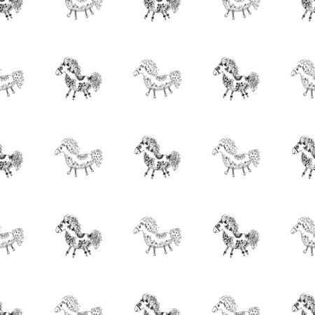 Seamless pattern of outline horse. Doodle seamless pattern of outline horse with floral elements on white background. Child illustration. Floral ornament. Vector design. Vector illustration. Illustration