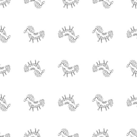 Seamless pattern of outline horse. Doodle seamless pattern of outline horse with floral elements on white background. Child illustration. Floral ornament. Vector design. Vector illustration. Illustration