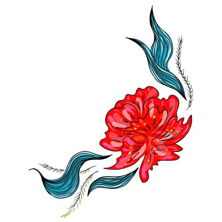 Summer tropical flower. Floral botanical flower isolated on white background. Hand drawn vector illustration. Botanical hawaii nature. Tropical leaf palm icon. Hawaiian vector tattoo illustration. Foto de archivo - 132069523