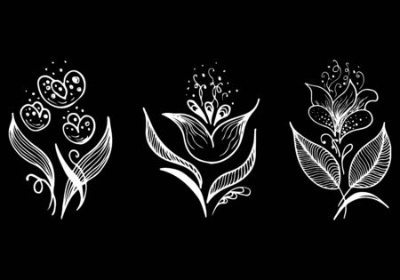 Set of summer tropical flowers. Floral botanical flower set isolated on black background. Hand drawn vector collection. Botanical Hawaii nature. Tropical palm icon. Hawaiian vector tattoo
