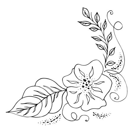 Engraved hand drawn abstract orchid. Retro flowers hand outline orchid, great design for any purposes. Outline vector. Nature background. Tropical plant. Floral design. Abstract art background.