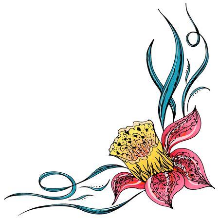 Gegraveerde hand getekende abstracte orchidee. Retro bloemen hand schets orchidee, geweldig design voor alle doeleinden. Overzichtsvector. Natuur achtergrond. Tropische plant. Bloemdessin. Abstracte kunst achtergrond. Vector Illustratie