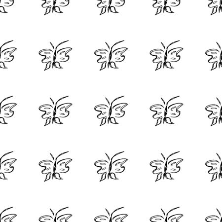 Butterfly seamless outline vector in line art style on white background. Line art butterfly. Cartoon animals. Simple design seamless pattern. Exotic wallpaper. Abstract pattern.