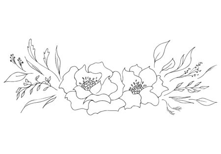 Engraved hand drawn abstract orchid. Retro flowers hand outline orchid, great design for any purposes. Outline vector. Nature background. Tropical plant. Floral design. Abstract art background. Illustration