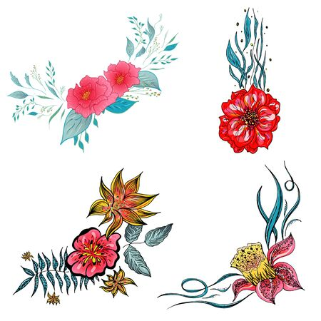 Set of 4 summer colorful tropical flowers. Floral botanical flower set isolated on white background. Hand drawn vector collection. Botanical Hawaii nature. Tropical palm icon. Hawaiian illustration.