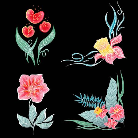 Set of 4 summer colorful tropical flowers. Floral botanical flower set isolated on black background. Hand drawn vector collection. Botanical Hawaii nature. Tropical palm icon. Hawaiian illustration. Stock Vector - 136412779