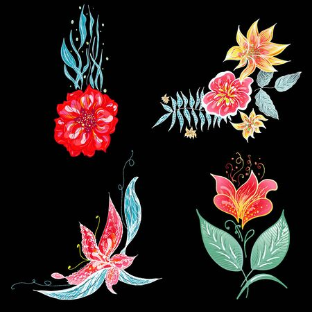 Set of 4 summer colorful tropical flowers. Floral botanical flower set isolated on black background. Hand drawn vector collection. Botanical Hawaii nature. Tropical palm icon. Hawaiian illustration. Illustration