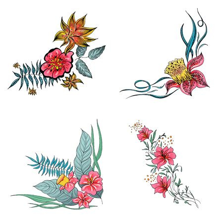 Set of 4 summer colorful tropical flowers. Floral botanical flower set isolated on white background. Hand drawn vector collection. Botanical Hawaii nature. Tropical palm icon. Hawaiian illustration. Stock Vector - 136412783