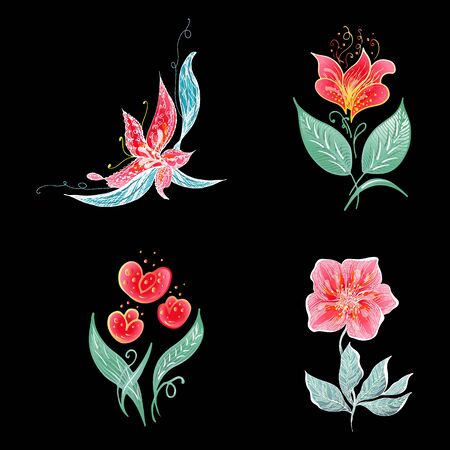 Set of 4 summer colorful tropical flowers. Floral botanical flower set isolated on black background. Hand drawn vector collection. Botanical Hawaii nature. Tropical palm icon. Hawaiian illustration. Stock Vector - 136412789