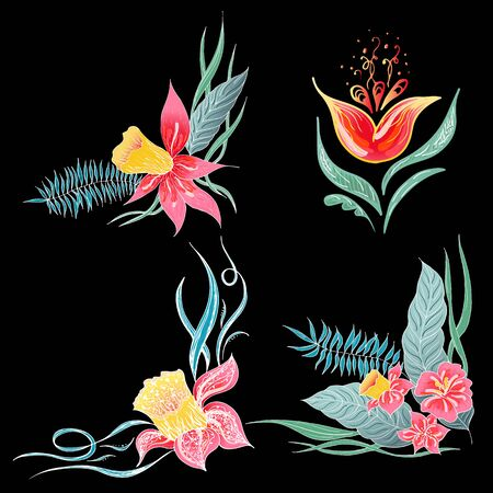 Set of 4 summer colorful tropical flowers. Floral botanical flower set isolated on black background. Hand drawn vector collection. Botanical Hawaii nature. Tropical palm icon. Hawaiian illustration. Stock Vector - 136412785