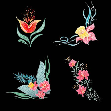 Set of 4 summer colorful tropical flowers. Floral botanical flower set isolated on black background. Hand drawn vector collection. Botanical Hawaii nature. Tropical palm icon. Hawaiian illustration. Stock Vector - 136412792
