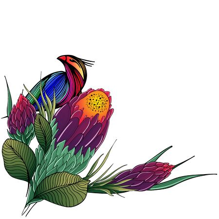 Colorful flat hand drawn tropical flowers and bird isolated on black background. Vector illustration. Exotic tropical bird and plant. Design elements. Abstract art background. Animal life.