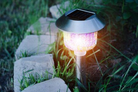 garden lights with solar battery. Closeup shot