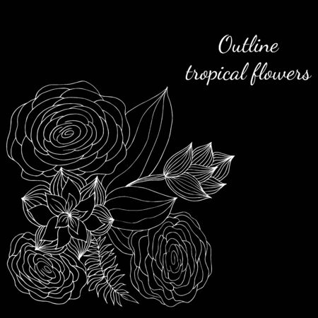 Outline hand drawn tropical flowers isolated on black. Retro flowers hand outline orchid, great design for any purposes. Vector illustration. Tropical plant for coloring book. Design elements. Illustration