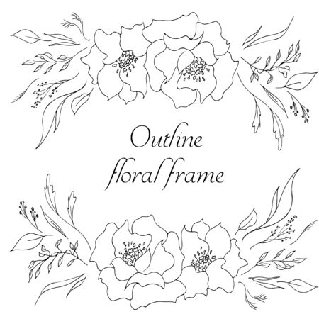 Outline hand drawn tropical flowers isolated on white. Retro flowers hand outline orchid, great design for any purposes. Vector illustration. Tropical plant for coloring book. Design elements. Illustration