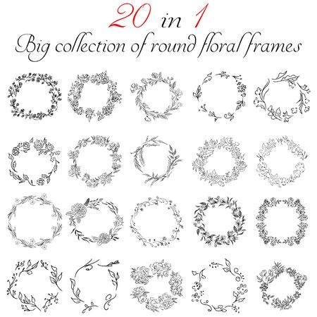 Big collection of 20 round floral frames. Big floral botanical flowers set isolated on a white background. Hand drawn outline vector collection. Spring blossom Vettoriali