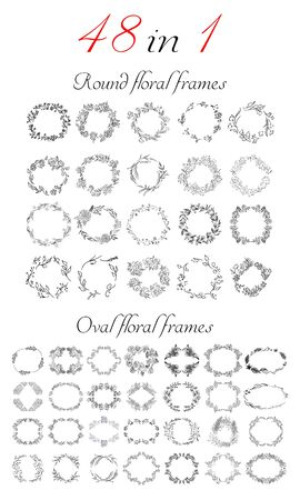 Big collection of 20 round and oval floral frames. Big floral botanical flowers set isolated on a white background. Hand drawn outline vector collection. Spring blossom.