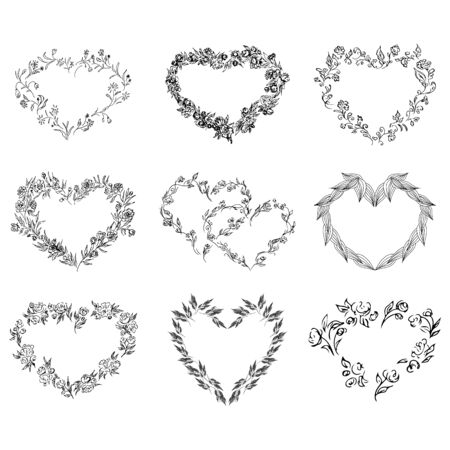 Vintage outline flower heart collection. Outline hand-drawn flowers. Big hearts collection. Isolated vector set. Vintage vector set.
