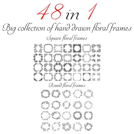 Big collection of 48 round and square floral frames. Big floral botanical flowers set isolated on a white background. Hand drawn outline vector collection. Spring blossom.
