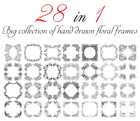 Big collection of 28 hand-drawn floral frames. Big floral botanical flowers set isolated on a white background. Hand drawn outline vector collection. Spring blossom.