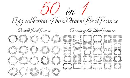 Big collection of 50 round and rectangular floral frames. Big floral botanical flowers set isolated on a white background. Hand drawn outline vector collection.