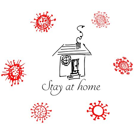 Stay at home. Stop coronavirus concept. Icon with bacteria around the house. Vector quarantine sign. Line drawing. Medical icon collection. COVID-19. 2019 Novel Coronavirus 2019-nCoV. SARS-CoV-2.