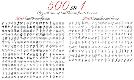 Huge outline collection of 500 hand-drawn floral elements. Big collection of 300 hand-drawn flowers and 200 brunches and leaves. Big floral botanical set isolated on a white background. 向量圖像