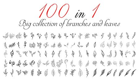 Big collection of 100 hand-drawn branches and leaves. Big floral botanical leaves and brunches set isolated on a white background. Hand drawn vector collection. Spring blossom.