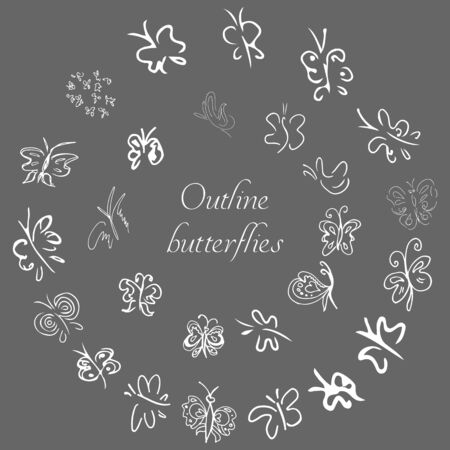Set of hand drawn butterflies. Set of coloring butterflies, isolated white background. Doodle style. Black and white fantasy cartoon moths. Vector hand drawing collection. Line art doodle collection